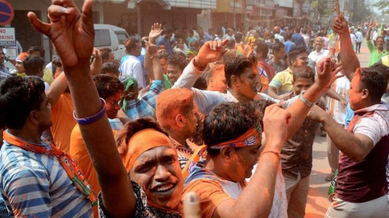 BJP workers celebrating victory party