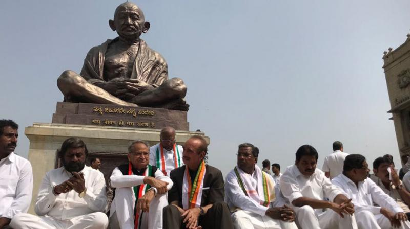 Members of the Congress, including senior leaders staged protest at Vidhan Soudha