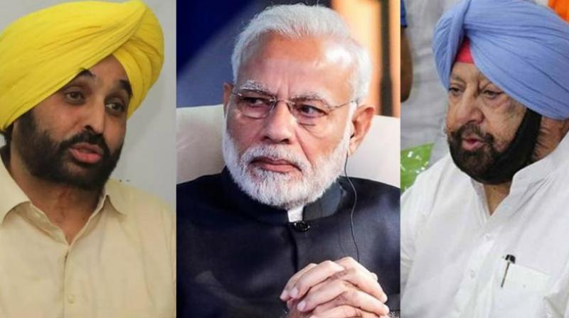 Bhagwant Mann, Narendra Modi and Captain Amarinder Singh