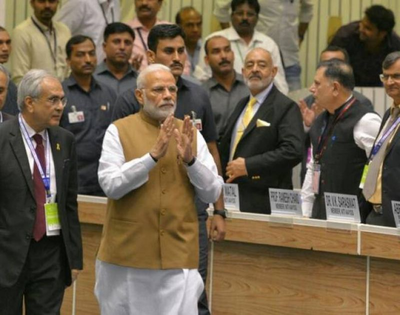 Narendra Modi arrives to inaugurate the Global Mobility Summit