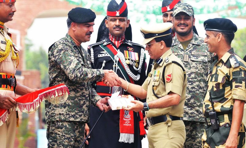 Pakistan officials at the Wagah border exchanged sweets with Indian BSF