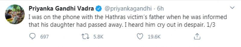Priyanka Gandhi tweet