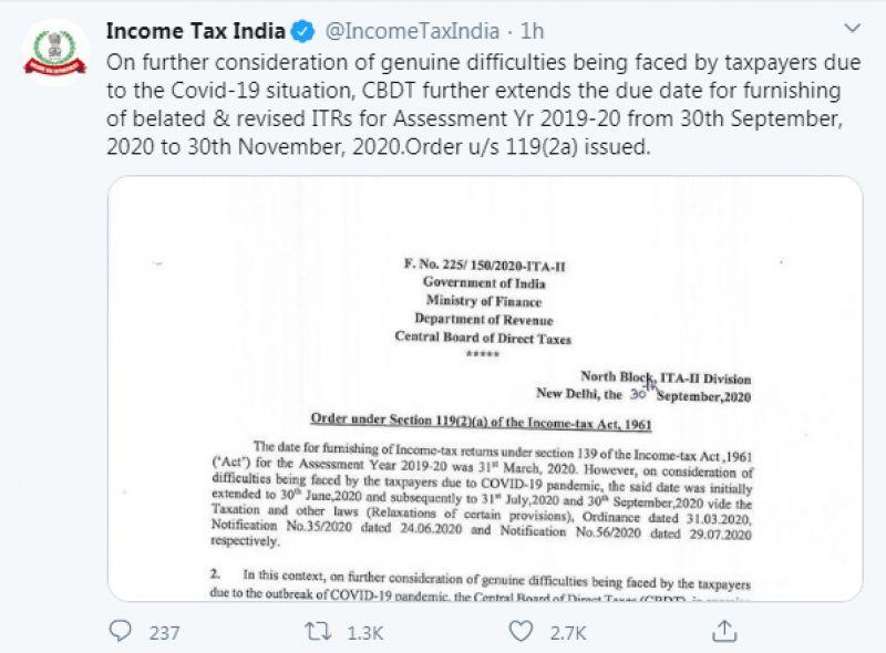 Income Tax India tweet