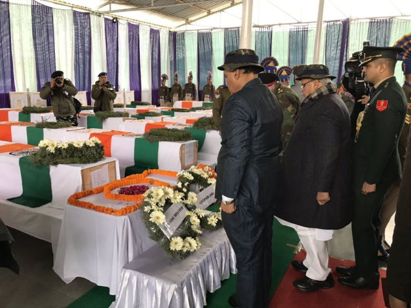 Rajnath Singh lays wreath on the coffins of CRPF martyred