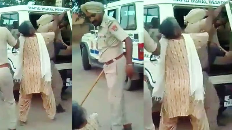 Bathinda cop caught on cam beating up elderly woman