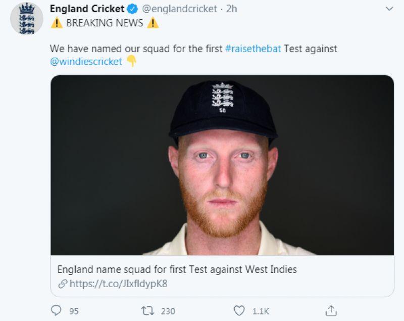 England Cricket tweet