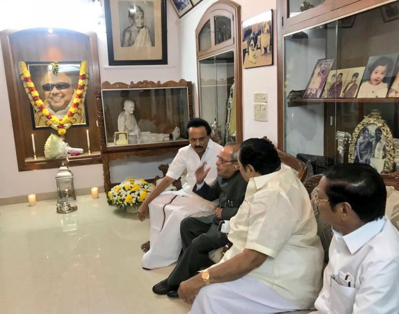 Mukherjee was accorded a warm welcome by DMK president M K Stalin