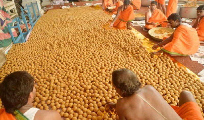 Temple kitchens, where the world-famous Tirupati laddoo is prepared as 'prasadam'