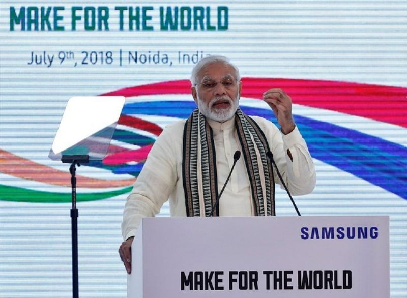 Narendra Modi speaks during the inauguration of the Samsung Electronics