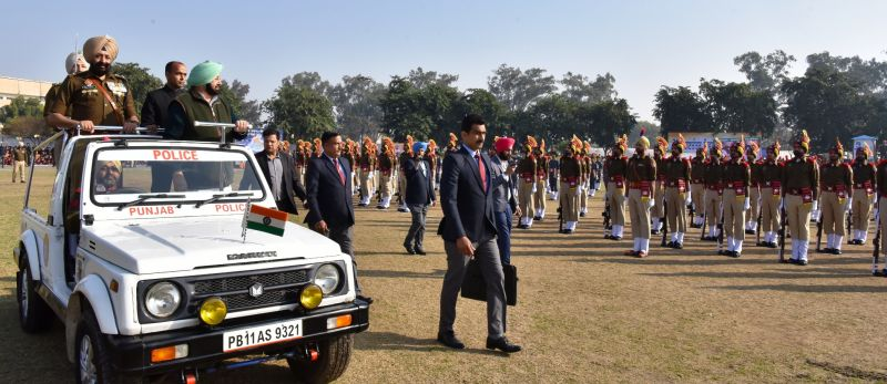 Captain Amarinder Singh inspecting the parade during 70th Republic Day function