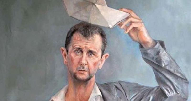 Omari paints Bashar al-Assad as a distraught refugee