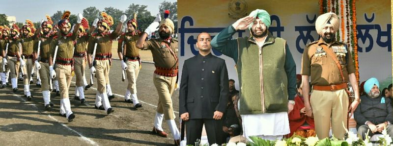 Captain Amarinder Singh taking salute from march