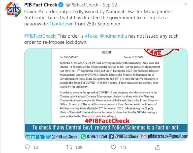 PIB Fact Check tweet