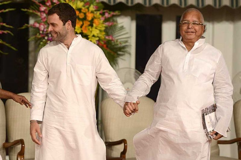 Rahul Gandhi greets Lalu Yadav on his 71st B'day