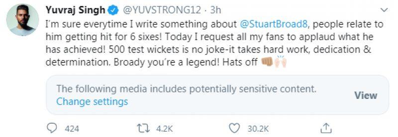 Yuvraj Singh tweet