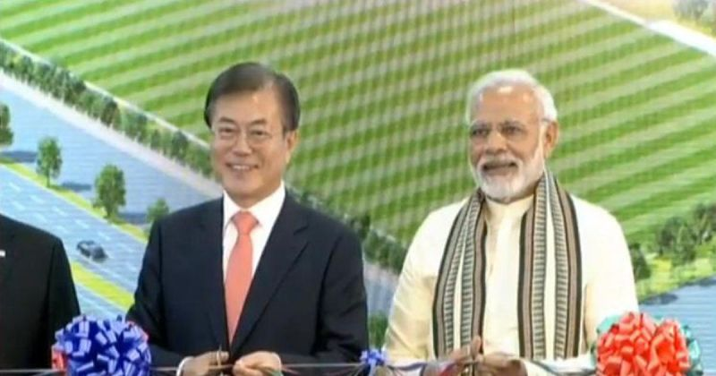 Moon had jointly inaugurated the world's largest mobile phone factory in Noida