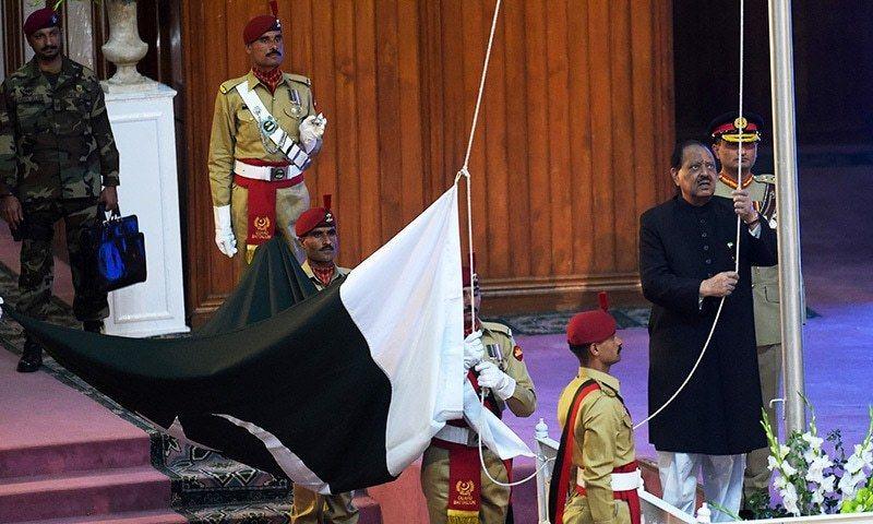 President Mamnoon Hussain hoisted the national flag